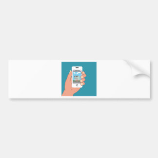Smartphone in hand with house picture bumper sticker
