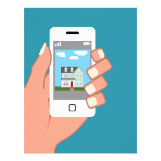 Smartphone in hand with house picture letterhead