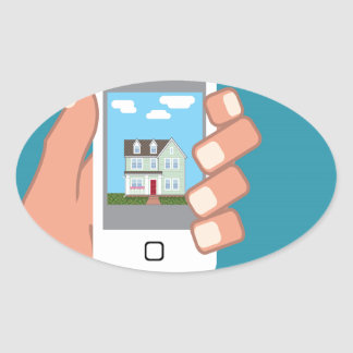 Smartphone in hand with house picture oval sticker