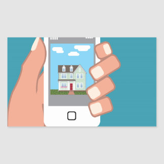 Smartphone in hand with house picture rectangular sticker