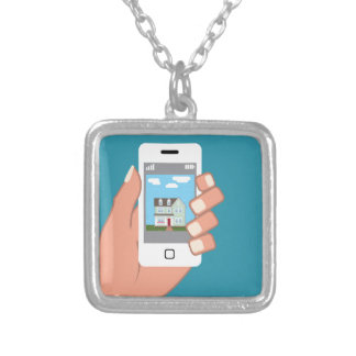 Smartphone in hand with house picture square pendant necklace