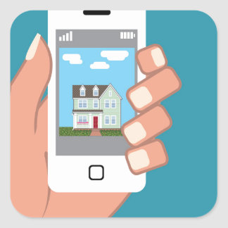 Smartphone in hand with house picture square sticker