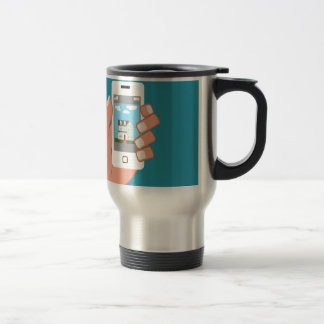Smartphone in hand with house picture travel mug
