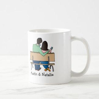 Smartphone loving couple- personalized cartoon mug