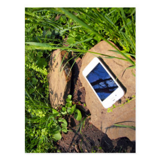 Smartphone on a rock in a meadow postcard