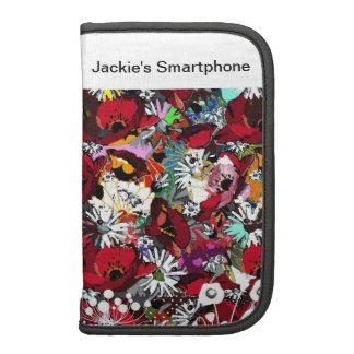 Smartphone personalizó la amapola en folio, roja f organizadores