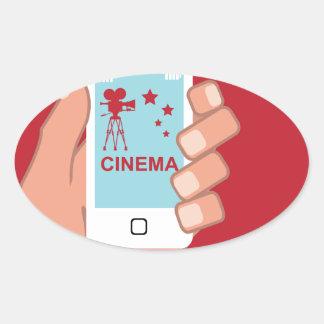Smartphone vector Cinema App Oval Sticker