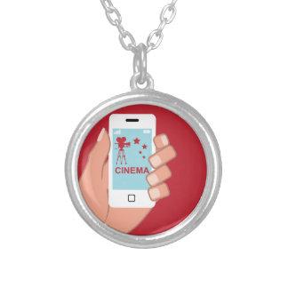 Smartphone vector Cinema App Round Pendant Necklace