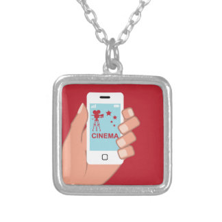 Smartphone vector Cinema App Square Pendant Necklace