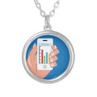 Smartphone with a graph round pendant necklace