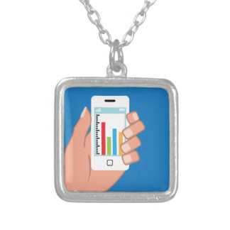 Smartphone with a graph square pendant necklace