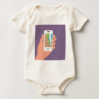 Smartphone with a map App Baby Bodysuit