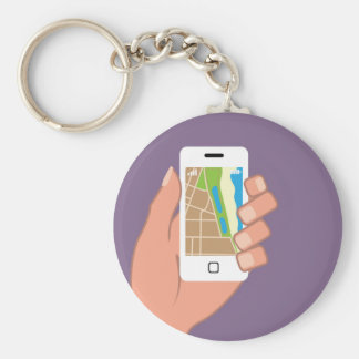 Smartphone with a map App Keychain