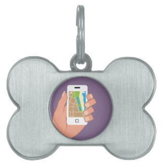 Smartphone with a map App Pet Tag
