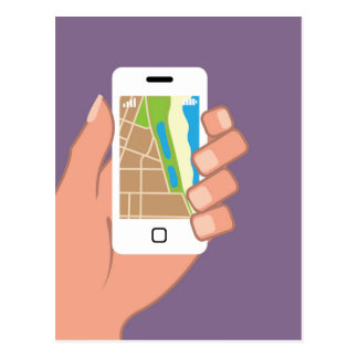 Smartphone with a map App Postcard