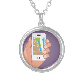 Smartphone with a map App Round Pendant Necklace