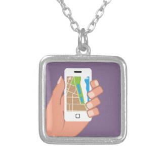 Smartphone with a map App Square Pendant Necklace