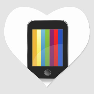 Smartphone with colorful screen heart sticker