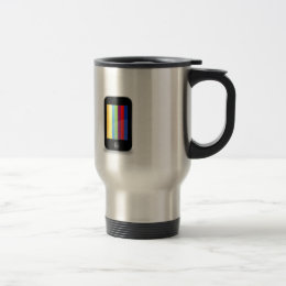 Smartphone with colorful screen travel mug