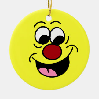 Smarty Pants Smiley Face Grumpey Ceramic Ornament