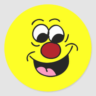 Smarty Pants Smiley Face Grumpey Classic Round Sticker