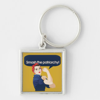 Smash the Patriarchy Feminist Saying Keychain
