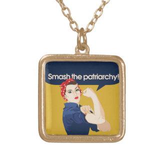 Smash the Patriarchy Feminist Saying Pendant