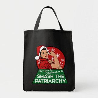 Smash the patriarchy for christmas tote bag