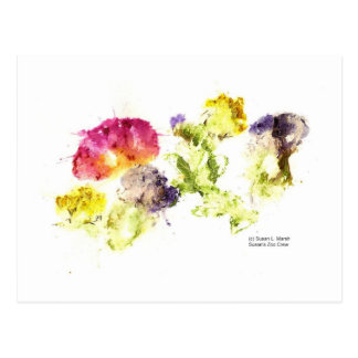 Smashed Flowers Colorful on white Postcard