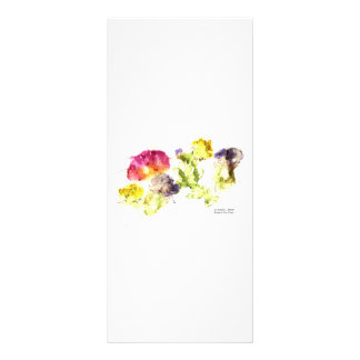 Smashed Flowers Colorful on white Personalized Rack Card