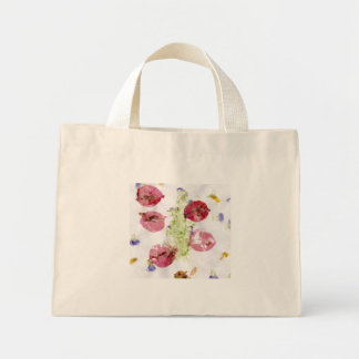 Smashed flowers craft, bougie red and green canvas bags
