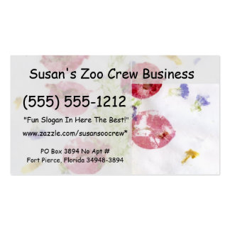 Smashed flowers craft, bougie red and green business cards