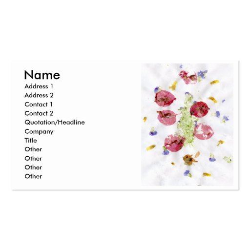 Smashed flowers craft, bougie red and green business card
