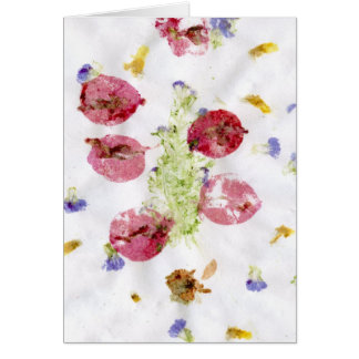 Smashed flowers craft, bougie red and green greeting cards