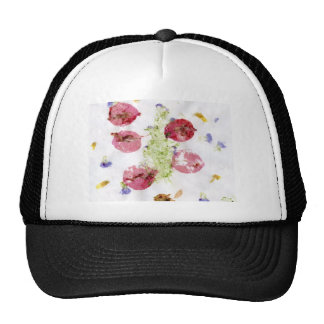 Smashed flowers craft, bougie red and green hats