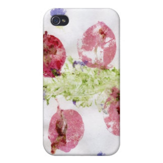 Smashed flowers craft, bougie red and green iPhone 4 case