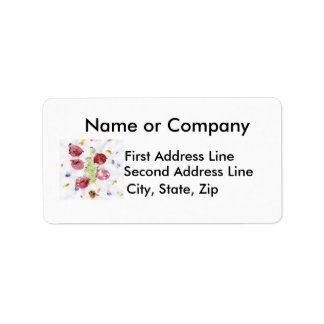 Smashed flowers craft, bougie red and green address label