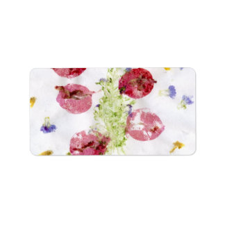 Smashed flowers craft, bougie red and green personalized address label