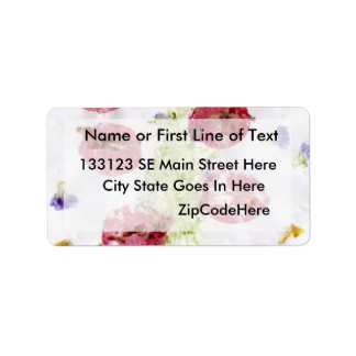 Smashed flowers craft, bougie red and green custom address label