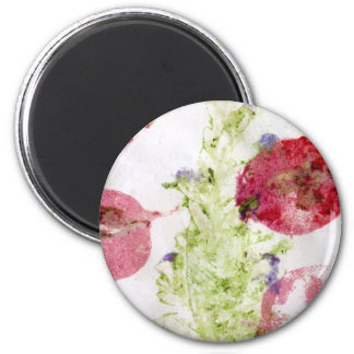 Smashed flowers craft, bougie red and green refrigerator magnets
