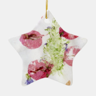 Smashed flowers craft, bougie red and green ornaments