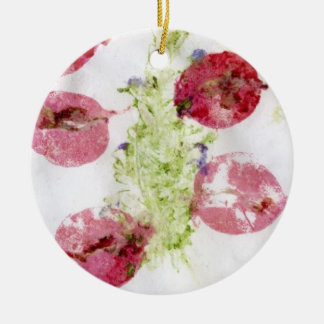 Smashed flowers craft, bougie red and green christmas ornament