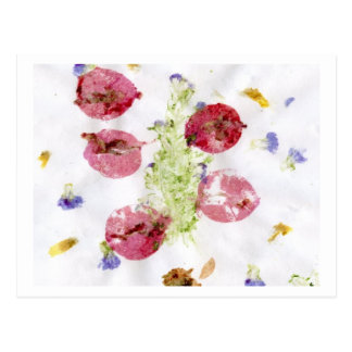 Smashed flowers craft, bougie red and green postcard