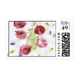 Smashed flowers craft, bougie red and green stamps
