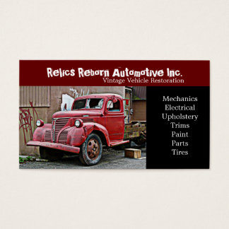 Smashed Front Window Old Truck  Repair Shop Business Card