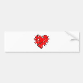 smashed heart shattered heart bumper sticker
