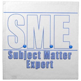 SME  LOGO SUBJECT MATTER EXPERT WHITE/BLUE NAPKIN