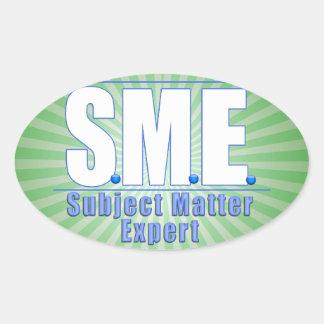 SME  LOGO SUBJECT MATTER EXPERT WHITE/BLUE OVAL STICKER