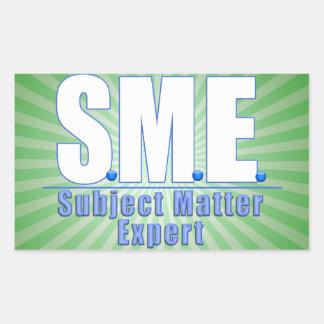 SME  LOGO SUBJECT MATTER EXPERT WHITE/BLUE RECTANGULAR STICKER