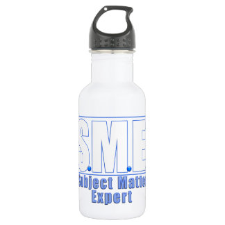 SME  LOGO SUBJECT MATTER EXPERT WHITE/BLUE STAINLESS STEEL WATER BOTTLE